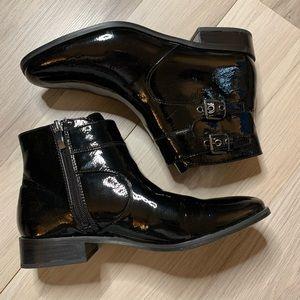 Franco Sarto Shoes - Franco Sarto Riddick Black Patent Ankle Boots